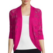 Liz Claiborne® 3/4 sleeves Crochet Cardigan Sweater
