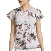 Liz Claiborne® Flutter-Sleeve Printed Bubble Top