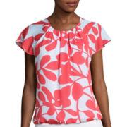 Liz Claiborne® Flutter-Sleeve Printed Bubble Top