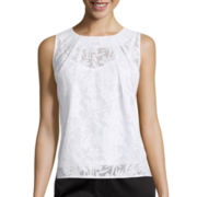 Liz Claiborne® Sleeveless Burnout Top