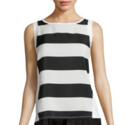 BELLE + SKY™ Stripe Mixed Media Tank Top