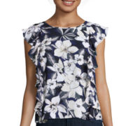 BELLE + SKY™ Short-Sleeve Cascade Ruffle Top