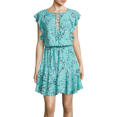 jcpenney.com | BELLE + SKY™ Short-Sleeve Tiered Ruffle Tie-Front Dress
