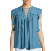 BELLE + SKY™ Ruffle Sleeve Lace-Up Blouse