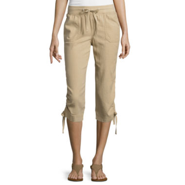jcpenney.com | St. John's Bay® Linen Cargo Cropped Pants