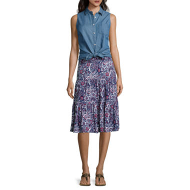 jcpenney.com | St. John's Bay® Sleeveless Button-Front Shirt or Knit Short Skirt