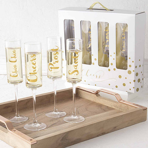 Cathy's Concepts Cheers Contemporary 4-pc. Champagne Flutes