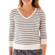 Liz Claiborne 3/4-Sleeve Striped V-Neck Sweater