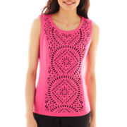 Worthington® Sleeveless Laser-Cut Shell Top - Petite