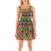 Self Esteem® Sleeveless Lattice-Strap Print Dress