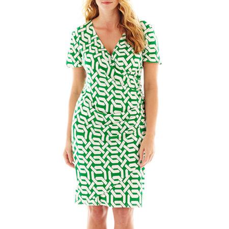 MSK Short-Sleeve Ruched Surplice Dress - Plus