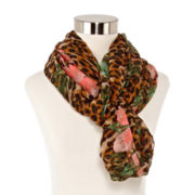 Tropical Animal-Print Loop Scarf