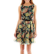 J. Taylor Sleeveless Fit-and-Flare Belted Dress