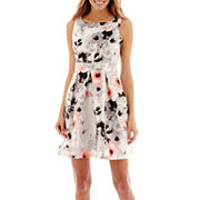 Studio 1 174 Sleeveless Floral Print Fit And Flare Dress