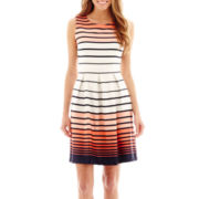 Studio 1® Sleeveless Cutout-Back Striped Fit-and-Flare Dress