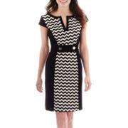 Studio 1® Cap-Sleeve Chevron Print Sheath Dress