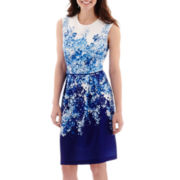 Studio 1® Scuba-Knit Floral Fit-and-Flare Dress