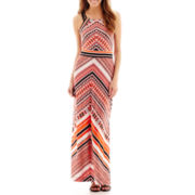 Trulli Sleeveless Print Drawstring-Shoulder Maxi Dress