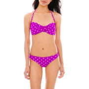 Arizona Polka Dot Twist Bandeau Swim Top or Hipster Bottoms - Juniors