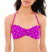 Arizona Polka Dot Twist Bandeau Swim Top - Juniors