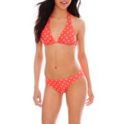 Arizona Polka Dot Slider Halter Swim Top or Hipster Bottoms - Juniors