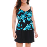 Trimshaper® Ruffle Tankini Swim Top or Solid Skirted Bottoms - Plus