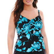 Trimshaper® Floral Print Tankini Swim Top - Plus