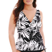 Trimshaper® Palm Leaf Print Tankini Swim Top - Plus