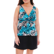 Trimshaper® Animal Print Tankini Swim Top or Skirted Bottoms  - Plus