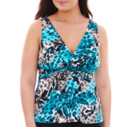 Trimshaper® Animal Print Tankini Swim Top - Plus