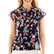 Liz Claiborne® Flutter-Sleeve Blouse - Petite