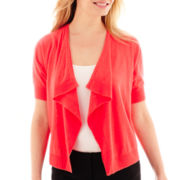 Liz Claiborne® Short-Sleeve Draped Cardigan - Petite
