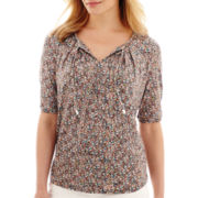 Liz Claiborne® Elbow-Sleeve Tie-Neck Top - Petite