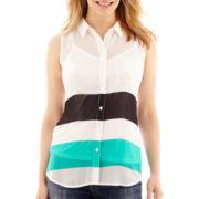 Liz Claiborne® Sleeveless Utility Shirt - Petite