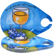 Certified International Wine Picnic Melamine Set of 6 Appetizer Plates