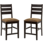 Brewer Set of 2 Counter-Height Ladderback Dining Chairs