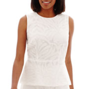 Liz Claiborne® Sleeveless Jacquard Peplum Shell Top