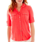 Liz Claiborne® Elbow-Sleeve Roll-Tab Knit Top