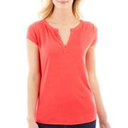 Liz Claiborne® Short-Sleeve Henley Top