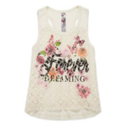 Knit Works Lace-Front Tank Top - Girls 7-16