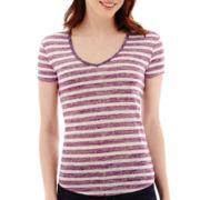 a.n.a® Short-Sleeve Striped Textured V-Neck T-Shirt