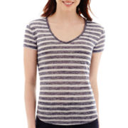 a.n.a® Striped Short-Sleeve V-Neck T-Shirt