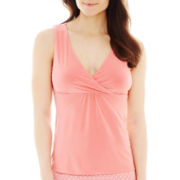 Ambrielle® Knit Surplice Tank Top