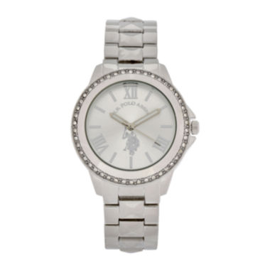 jcpenney.com | U.S. Polo Assn.® Womens Silver-Tone Crystal Accent Watch