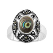 Le Vieux™ Marcasite & Paua Shell Silver Over Brass Oval Ring