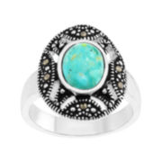 Le Vieux™ Marcasite & Blue Stone Silver Over Brass Oval Ring
