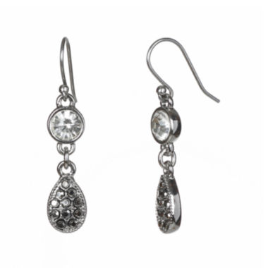 jcpenney.com | Liz Claiborne® Silver-Tone Glass Stone Double Drop Earrings