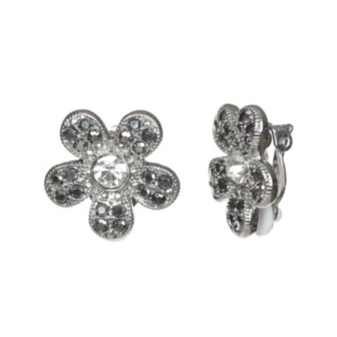 jcpenney.com | Liz Claiborne® Silver-Tone Glass Stone Clip-on Earrings