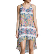 Fire Sleeveless Print Chiffon High-Low Dress