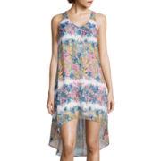 Fire Sleeveless Print Chiffon High-Low Dress
